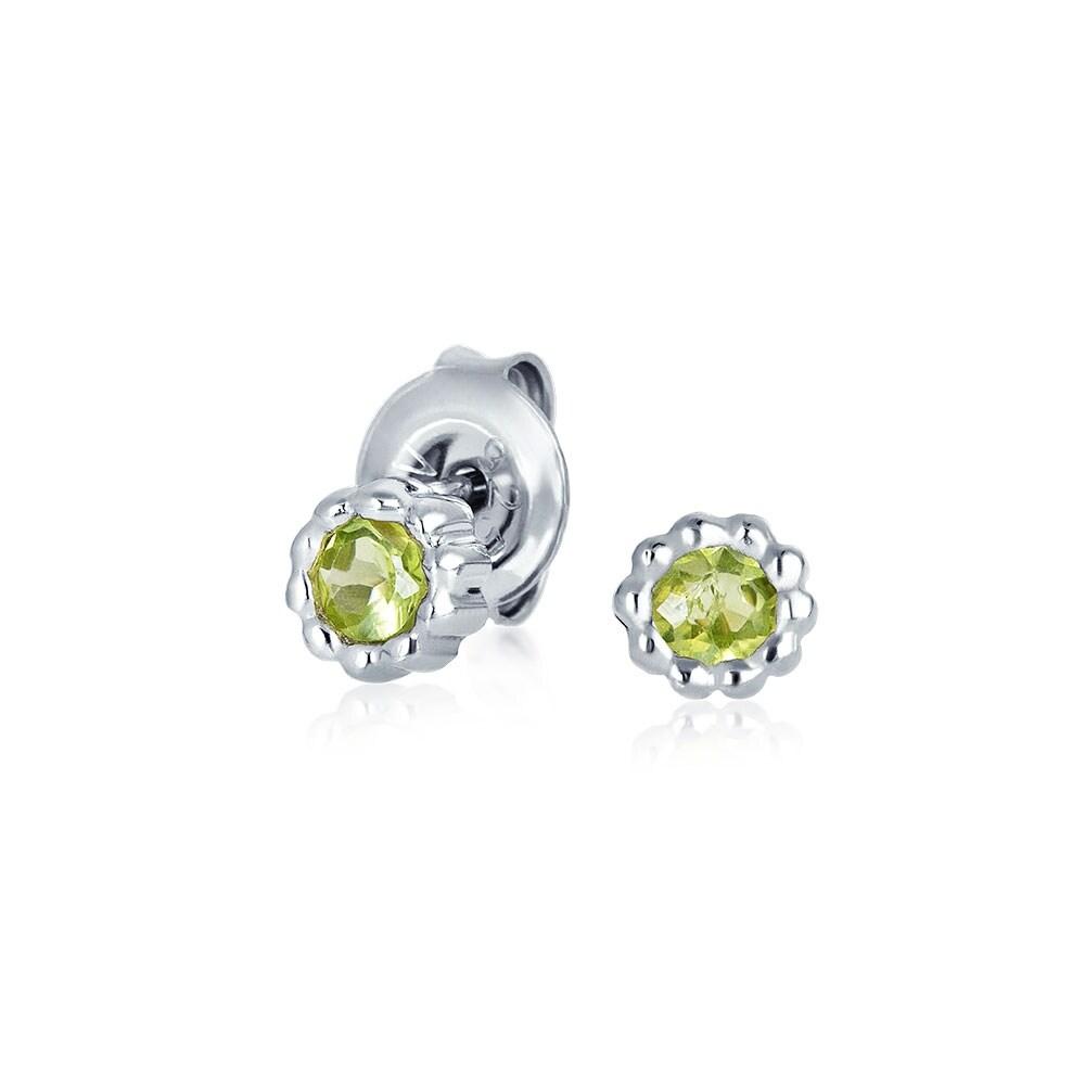 August birthstone Solid 9ct gold peridot gemstone stud earrings 5mm new