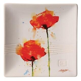 """Dean Crouser Poppy Flower Snack Plate - 7"""" sq"""