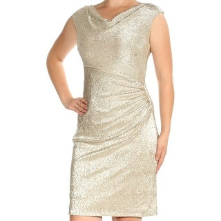 Womens Gold Cap Sleeve Above The Knee Sheath Casual Dress Size: 10