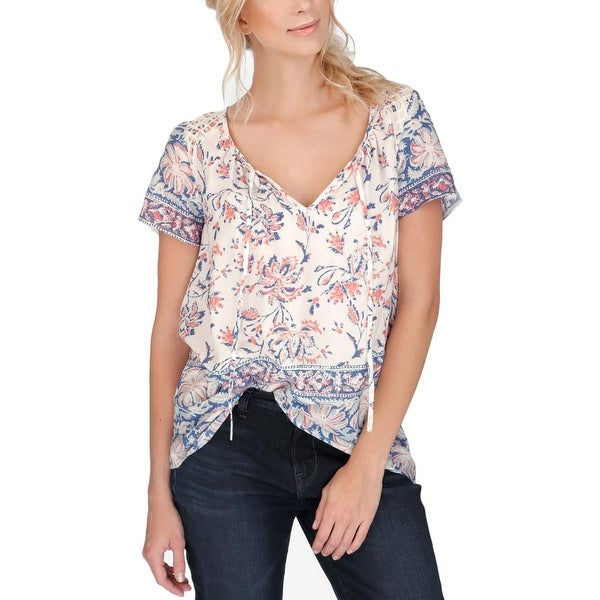 Lucky Brand Womens Casual Top Embroidered Printed