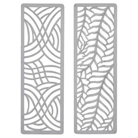 "Tall Rectangular Light Grey Carved Wood Wall Decor Set Of 2 16"" X 48"""