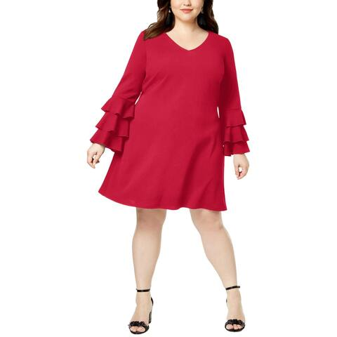 Love Squared Womens Plus Cocktail Dress Tiered Bell Sleeves