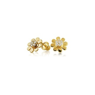 Tiny Minimalist CZ Accent Daisy Flower Stud Earrings For Women For Teen Cubic Zirconia Real 14K Yellow Gold Screwback