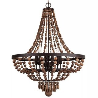 "Park Harbor PHHL6246 Casa Maya 25"" Wide 6 Light Single Tier Empire Style Chandelier with Wood Bead Accents"
