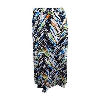 Kasper Women's Plus Size Knit Maxi Skirt (2X, Tangerine Multi) - tangerine multi - 2X