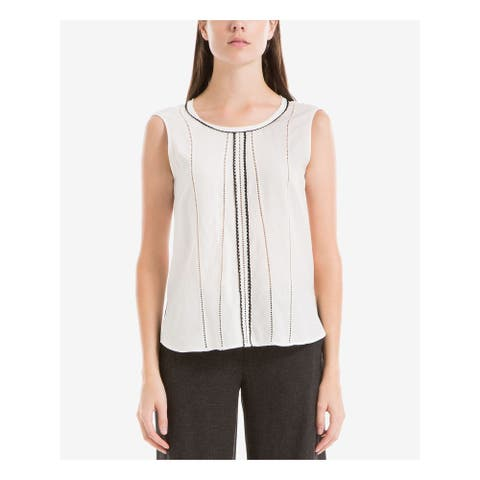 MAX STUDIO Womens White Eyelet Sleeveless Jewel Neck Top Size S