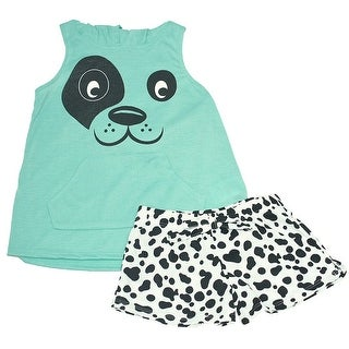 Little Girls Mint Animal Face Hooded Top Spotted 2 Pc Shorts Pajama Set