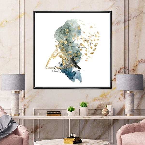 Designart 'Landscape of Dark Blue Mountains & Gold Strokes I' Modern Framed Canvas Wall Art Print. Opens flyout.