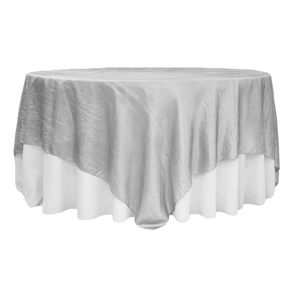 "Crushed Taffeta 90""x90"" Square Table Overlay - Silver"