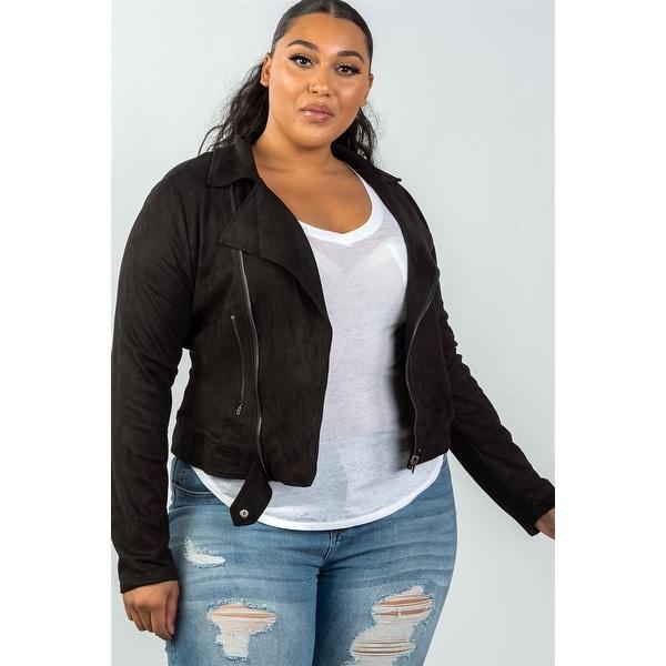 1469609f4c2 Ladies Fashion Plus Size Asymmetric Zippered Faux Suede Jacket - Size - 1Xl
