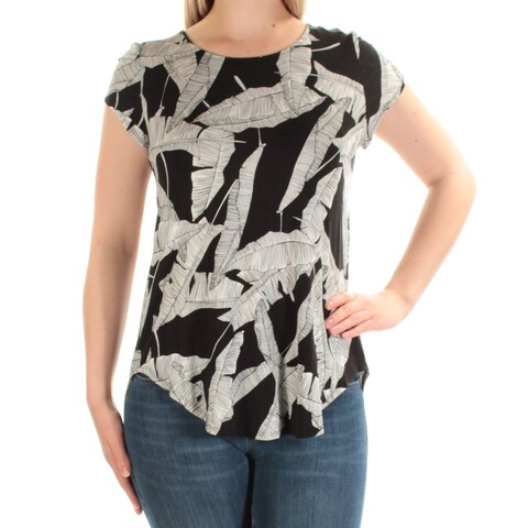 Womens Black Printed Cap Sleeve Jewel Neck Casual Top Size M