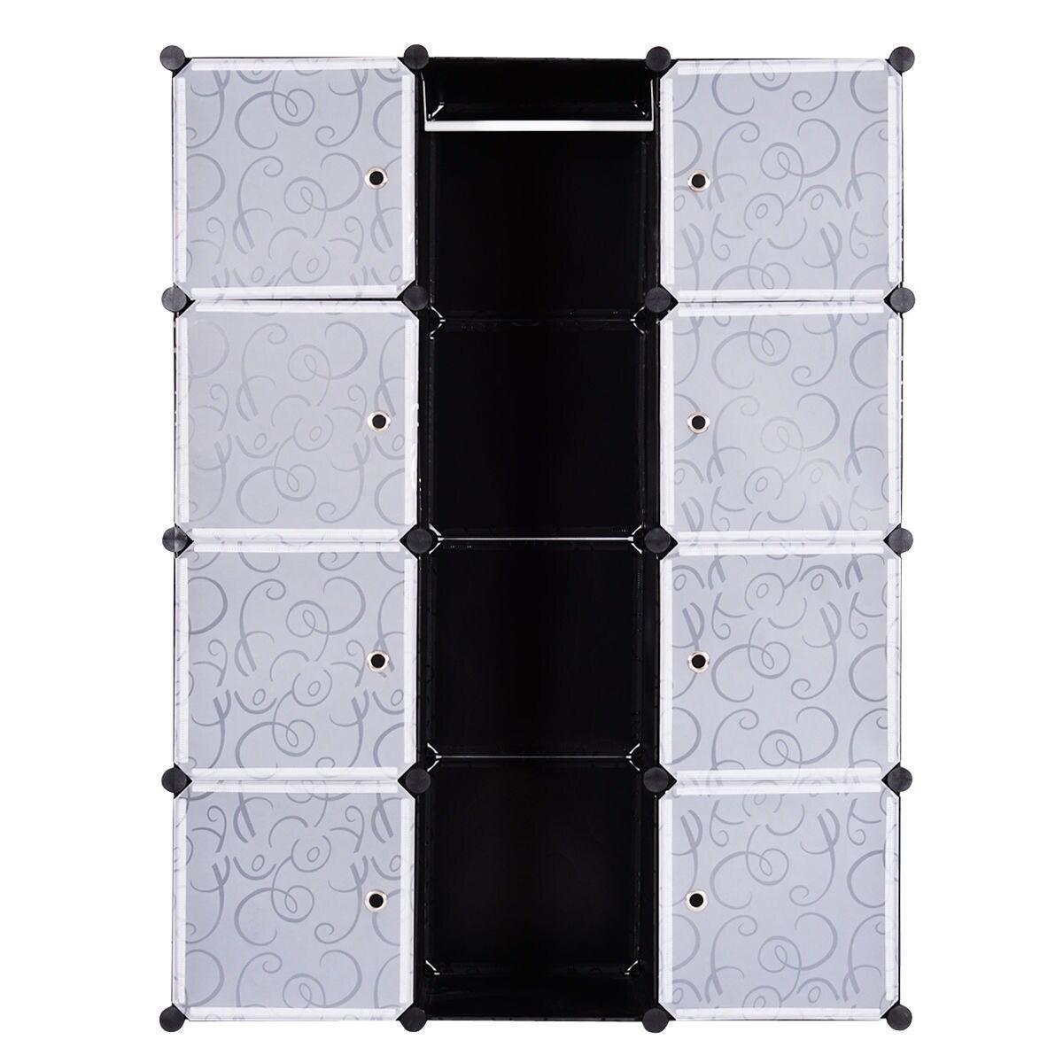 Costway Diy 12 Cube Portable Closet Storage Organizer Clothes Wardrobe Cabinet W Doors