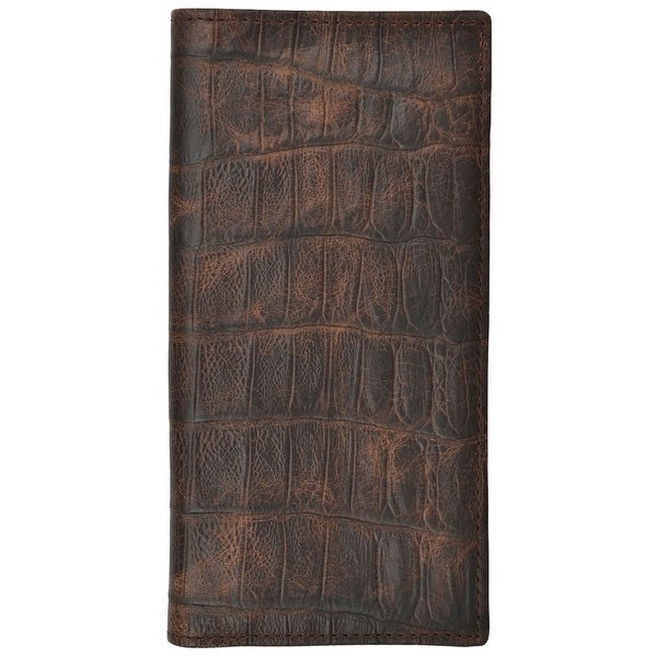 3D Western Wallet Mens Basic Rodeo Gator Checkbook Cognac - One size
