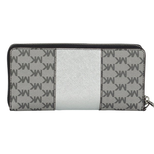 michael kors wallet black and silver