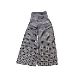 Bar Iii Black Printed Wide-Leg Soft Pants XS