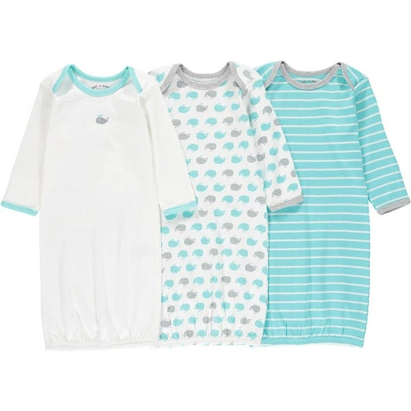 Wan-A-Beez Unisex Baby 0-6 Months Printed Gown - 3 Pack