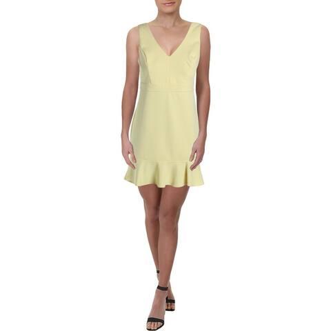 Aqua Womens Bodycon Dress Flounce V-Neck