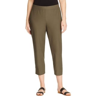 Eileen Fisher Womens Plus Cropped Pants Washable Flat Front