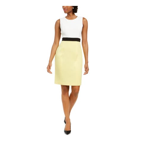 KASPER Yellow Sleeveless Above The Knee Dress 6P