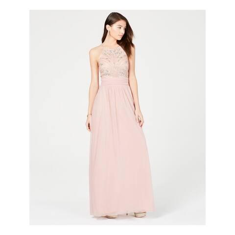 SPEECHLESS Womens Pink Sleeveless Full-Length Evening Dress Size 1