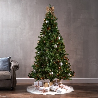 Link to 7-foot Noble Fir Hinged Artificial Christmas Tree by Christopher Knight Home Similar Items in Christmas Greenery