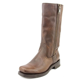 Frye Heath Outside Zip Women Square Toe Leather Brown Mid Calf Boot