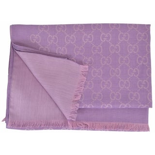 "Gucci Women's 165903 Large Lightweight Lilac Wool Silk GG Guccissima Scarf - 78"" x 28"""