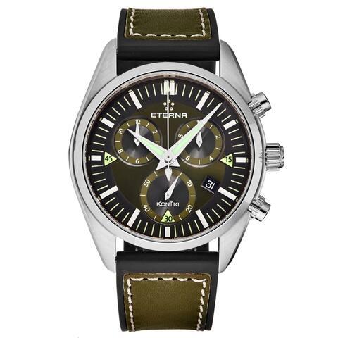 Eterna Men's 1250.41.50.1360 'KonTiki' Green Dial Chronograph Swiss Quartz Watch