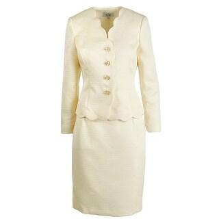 Le Suit Womens Petites City Blooms 2PC Scalloped Skirt Suit
