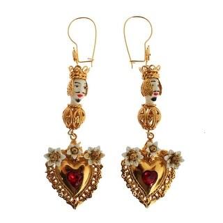 Dolce & Gabbana Gold Red Crystal Heart Pupi Doll Dangling Hook Earring