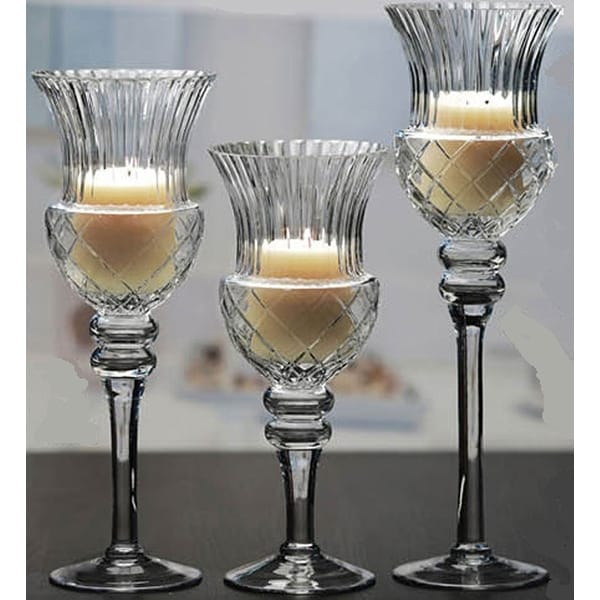 Palais Glassware Elegant Bougeoir Collection, Set of 3 Hurricane Candle Holders (Fusion Clair - Clear)