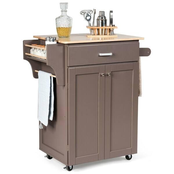 Shop Gymax Rolling Kitchen Island Utility Kitchen Cart ...