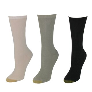 Gold Toe Women's Extended Size Non Binding Crew Socks (3 Pair Pack) (Option: Khaki)