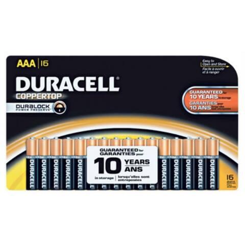 Duracell MN2400B16 Copper Top Alkaline AAA Battery, 1.5 Volt, 16-Pack