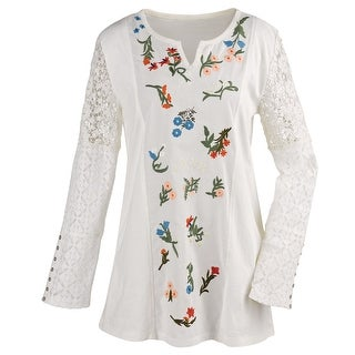 Women's Floral Embroidered White Tunic Top - Lace Long Sleeves Notched Neckline