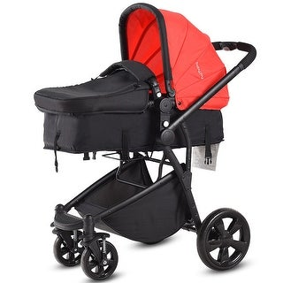 Costway 2 In 1 Folding Aluminum Baby Stroller Buggy Newborn Travel Pushchair Red