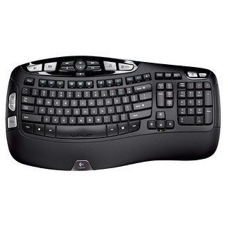Logitech K350 2.4GHz 102-Key Wireless Multimedia Wave Keyboard w/USB Unifying Nano Receiver (Black)