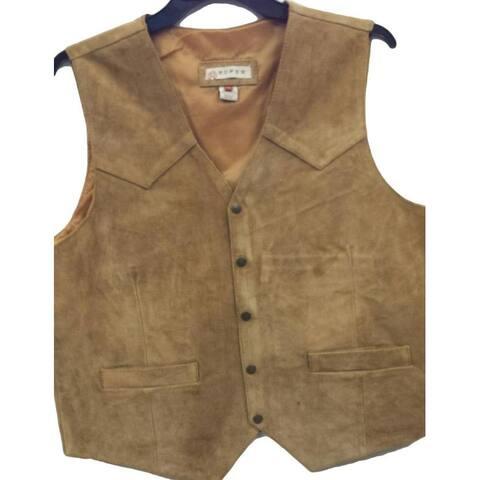 Roper Western Vest Mens Leather Snap Brown