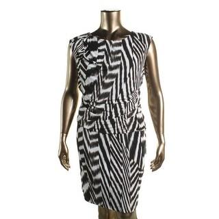 Calvin Klein Womens Plus Printed Pleated Wear to Work Dress - 2X