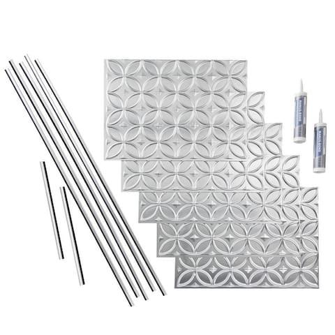 Fasade Rings Brushed Aluminum 15-square Foot Backsplash 15 Sq Ft Kit