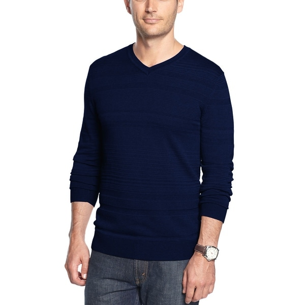 Alfani Red Label Slim Fit Navy Blue Textured Stripes V-Neck Pullover Sweater