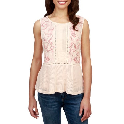 Lucky Brand Womens Casual Top Embroidered Pintuck