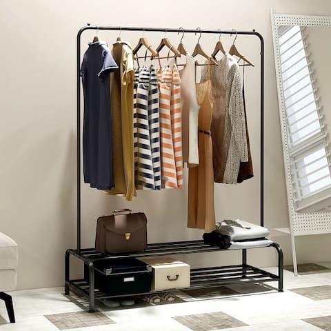 Clothing Garment Rack with Shelves Metal Cloth Hanger Rack