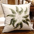 """Luxury Green Fish Embroidered Pillow 18""""X18"""" - Thumbnail 2"""