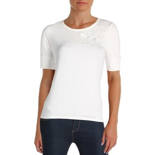 Tommy Hilfiger Womens Casual Top Embroidered Short Sleeves