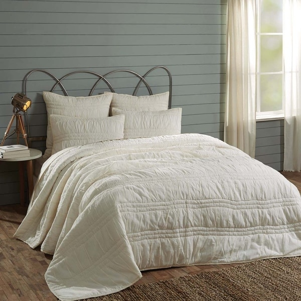 "VHC Brands Natasha Pearl White Queen Set; Quilt 90""x90""-2 Shams 21""x27:"