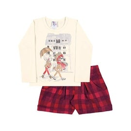 Toddler Girl Outfit Long Sleeve Shirt and Plaid Shorts Pulla Bulla Size 1-3 Year