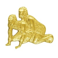 Simba CL069 1 in. Chenille Wrestling Lapel Pin, Bright Gold