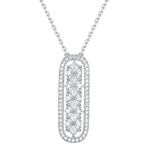Prism Jewel 0.49Ct G-H/SI1 & I1 Round & Princess Natural Diamond Oval Shape Necklace