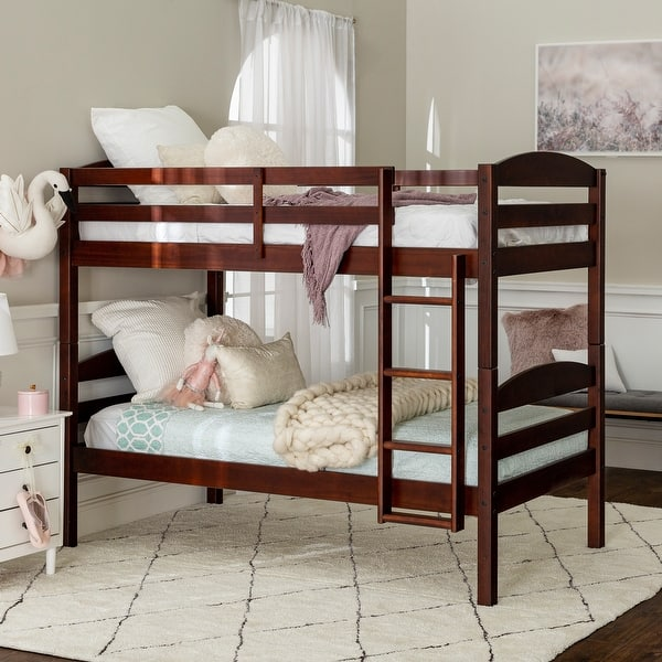 Taylor Olive Christian Wood Twin Over Twin Bunk Bed Espresso Overstock 4714640